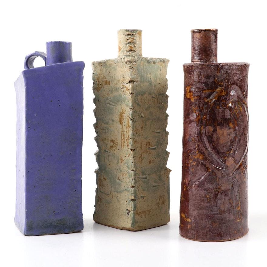 Studio Style Slab-Built Stoneware Bottle Vases
