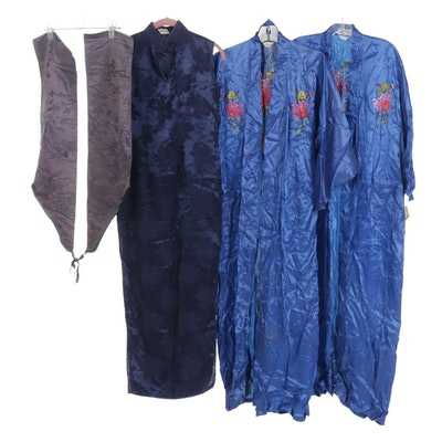 Chinese Export Embroidered Silk Robes, Sleeveless Cheongsam Dress and More