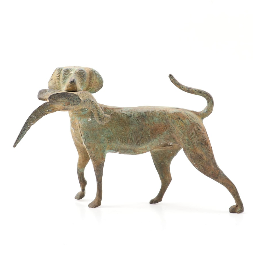 Cast Iron Labrador Retriever with Pheasant Figurine