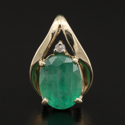 10K 1.74 CT Emerald and Diamond Pendant
