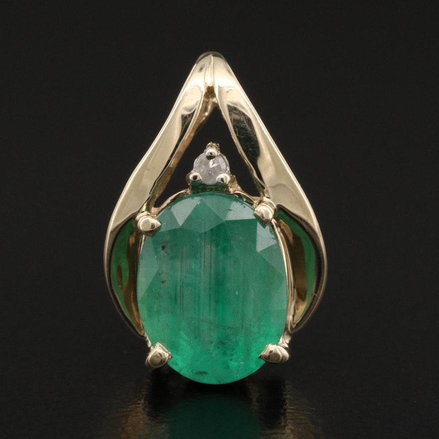 10K 1.74 CT Emerald and Diamond Pendant