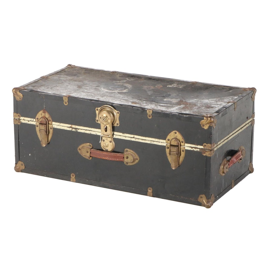 Black Clad Trunk with Leather Handles