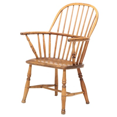Small Elm Windsor Armchair, Late 18th/ Early 19th Century