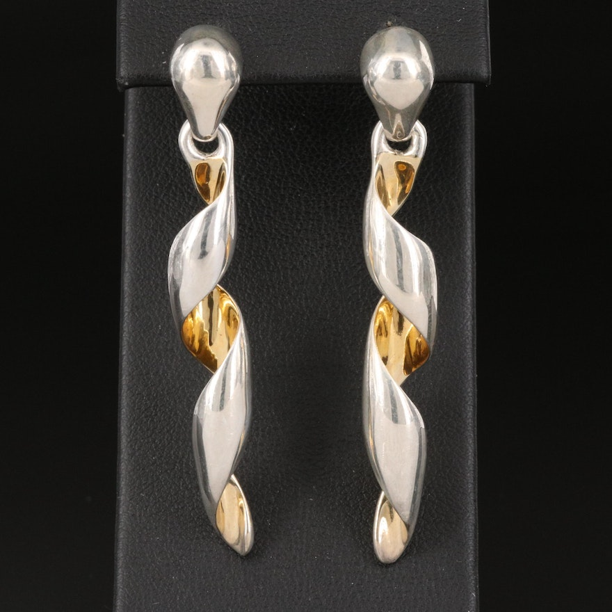 Tane Mexican Two-Tone Sterling Silver Spiral Twist Earrings