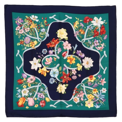Gucci Flora and Ribbon Silk Twill Scarf