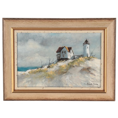 Robert Fabe Oil Painting of Lighthouse and Seaside Home