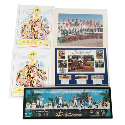 HOF Jockeys Signed Photos and Print, and Secretariat 25th Anniversary Poster
