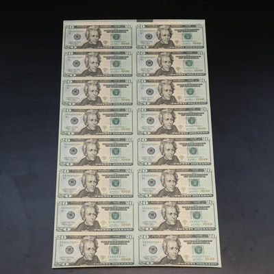 """Uncut Half-Sheet of Sixteen """"Star Note"""" $20 Federal Reserve Notes"""