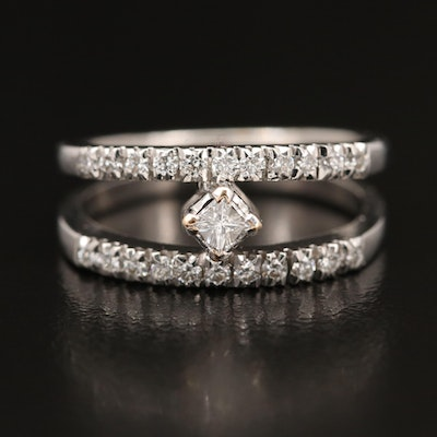 14K Diamond Ring with Split Shank