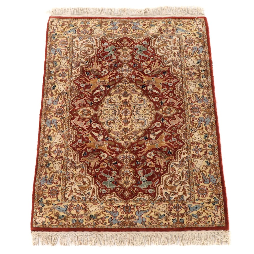 4'1 x 6'6 Hand-Knotted Pictorial Persian Tabriz Wool Area Rug
