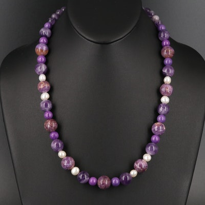 Necklace with Amethyst, Charoite, Pearl and Sterling Clasp