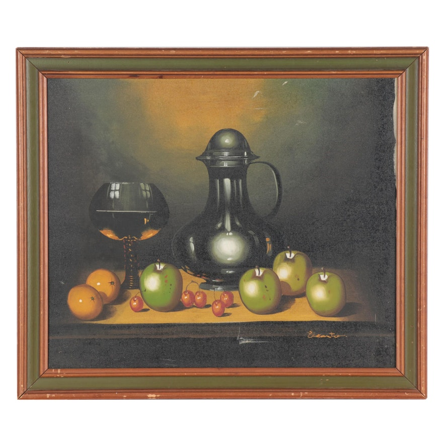 "Oil Painting ""Still Life - Apples & Cherries,"" Late 20th Century"