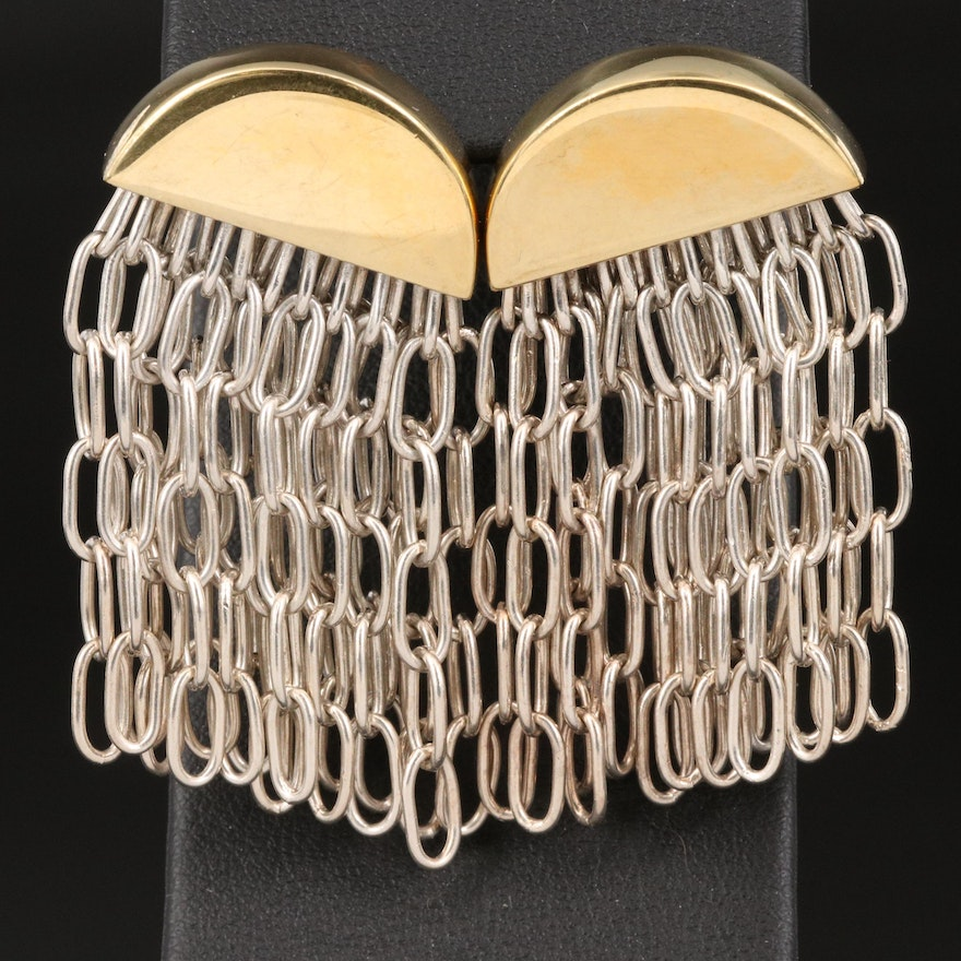 Mexican Tane Sterling Silver Chain Link Fringe Earrings