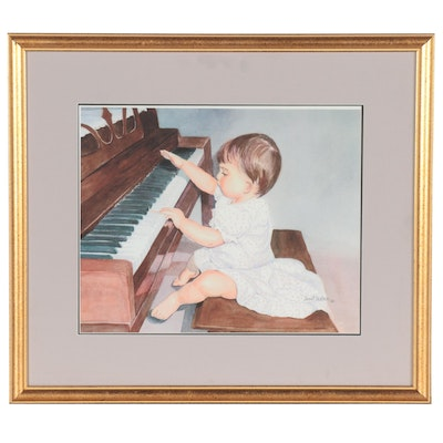 Giclée after Janet Lester of a Toddler at a Piano