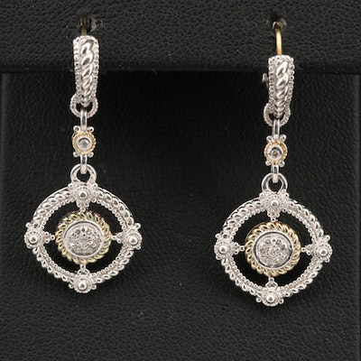 Judith Ripka Sterling Diamond Earrings with 18K Accents