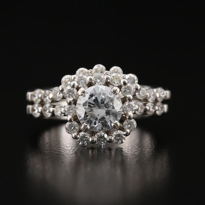 Natalie K 14K Diamond Semi-Mount Ring Set with Cubic Zirconia Center