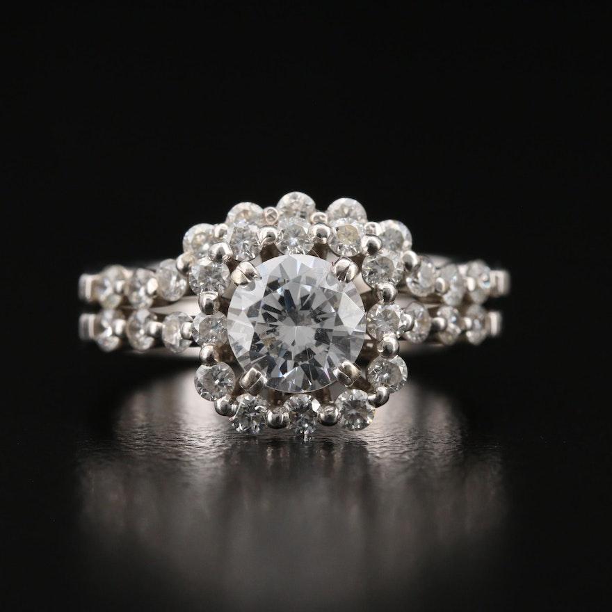 Natalie K 14K Diamond Semi-Mount Ring Set with Cubic Zirconia Center