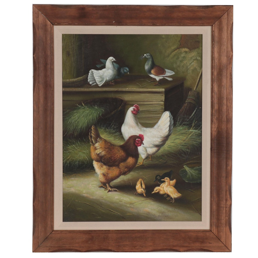 Oil Painting after Edgar Hunt of Poultry in a Barn, Late 20th Century