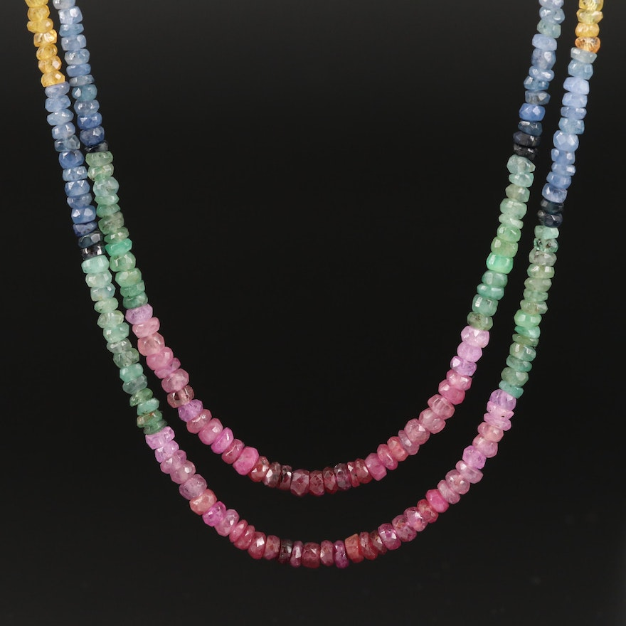 Sapphire, Ruby and Emerald Beaded Necklace with 18K Clasp