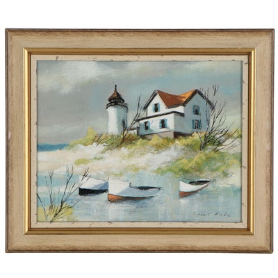 Robert Fabe Oil Painting of Seaside Home and Rowboats
