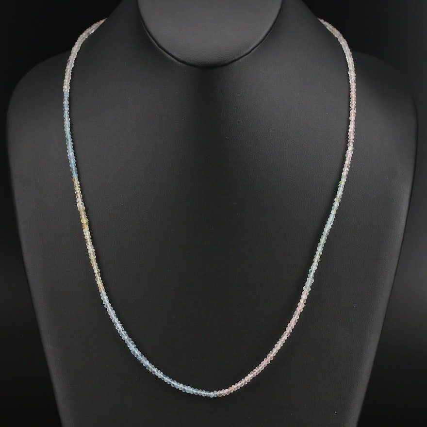 Aquamarine, Heliodor and Morganite Gemstone Necklace with Sterling Clasp