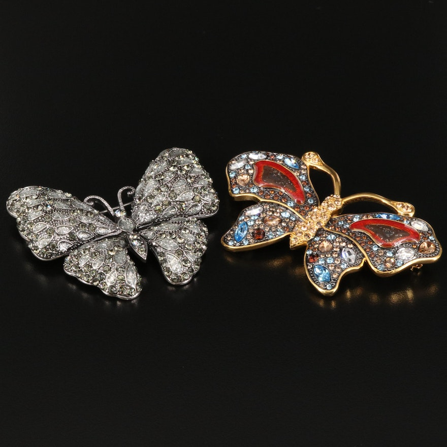 Rhinestone Butterfly Brooches from Nolan Miller and Joan Rivers