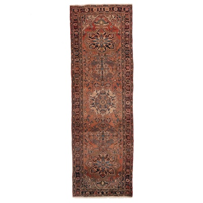 3'5 x 10'11 Hand-Knotted Persian Heriz Wool Long Rug
