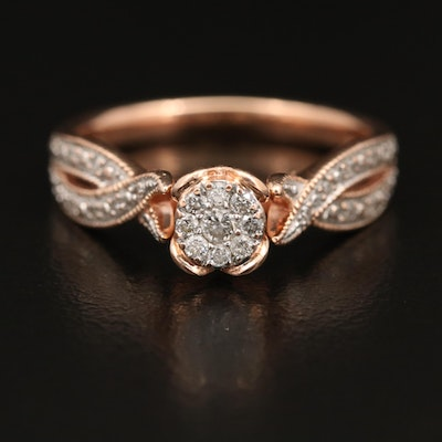 10K Rose Gold Diamond Ring with Milgrain Detail