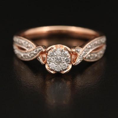 10K Rose Gold Diamond Ring with Milgrain Detail