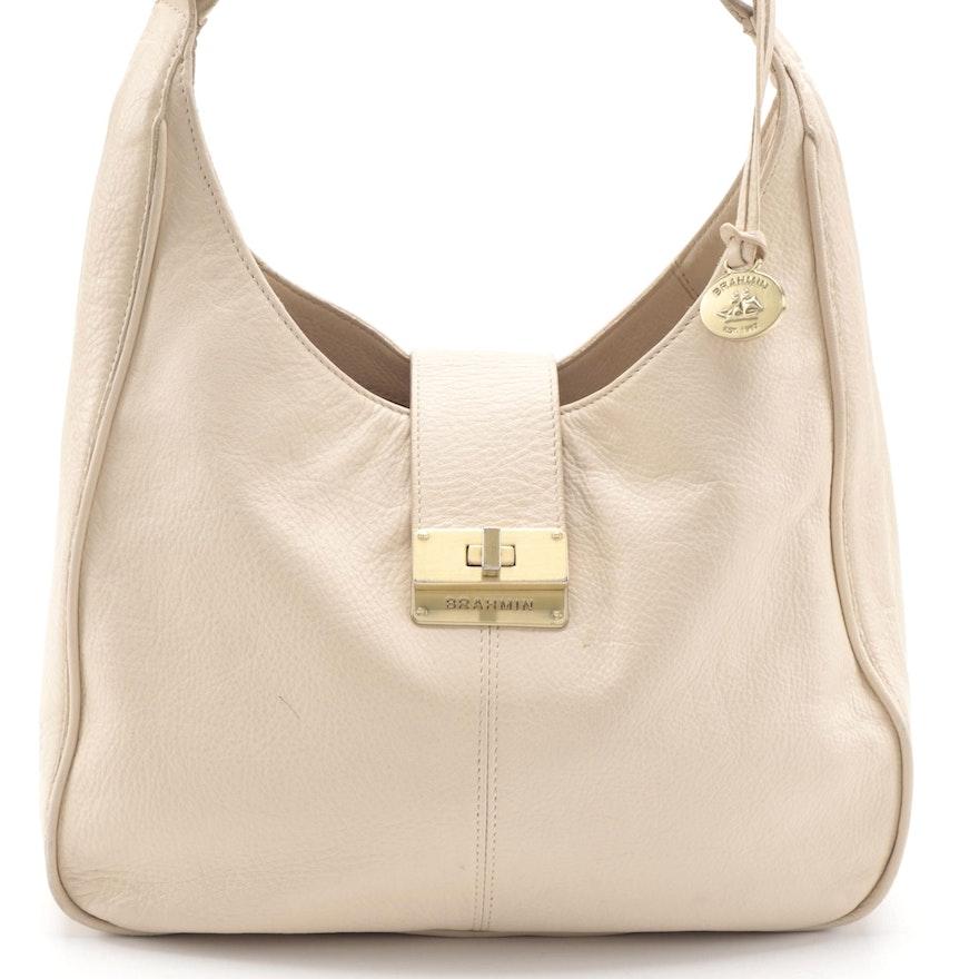 Brahmin Turn Lock Hobo Bag in Ivory Grained Leather