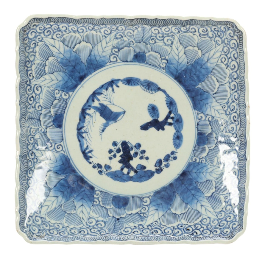 Japanese Blue and White Footed Square Porcelain Tray