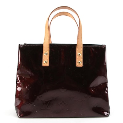 Louis Vuitton Reade PM Tote in Amarante Monogram Vernis and Natural Leather