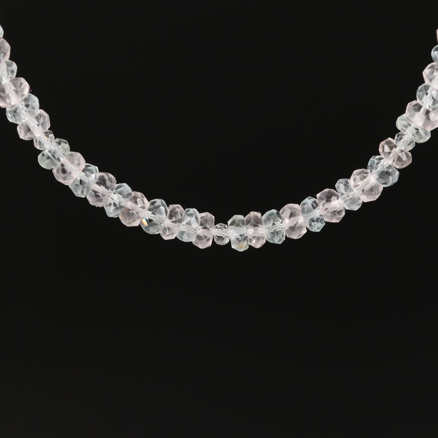 Graduated Beryl, Quartz and Topaz Necklace with Sterling Clasp