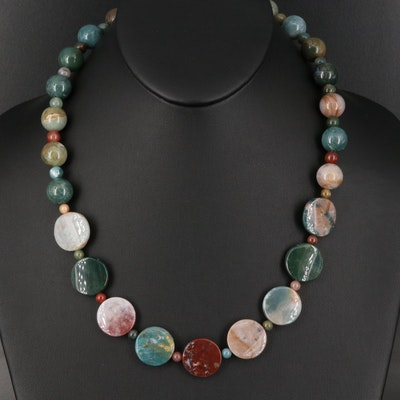 Agate and Jasper Bead Necklace with Sterling Clasp
