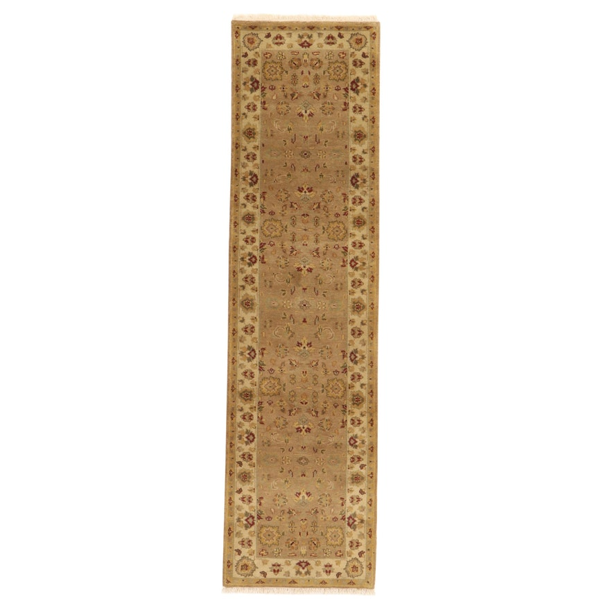 2'7 x 10'2 Hand-Knotted Indo-Turkish Oushak Carpet Runner, 2000s