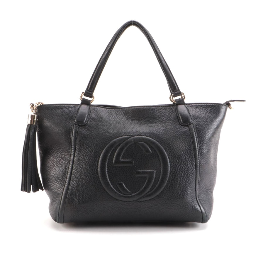 Gucci Soho Two-Way Tassel Bag in Black Pebbled Leather
