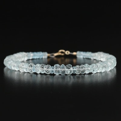 Aquamarine Beaded Bracelet with 10K Clasp