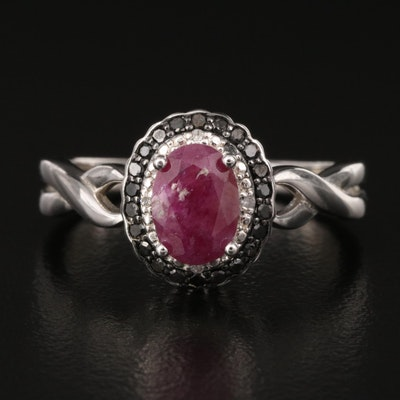 Sterling Ruby and Diamond Halo Ring with Twist Shoulders