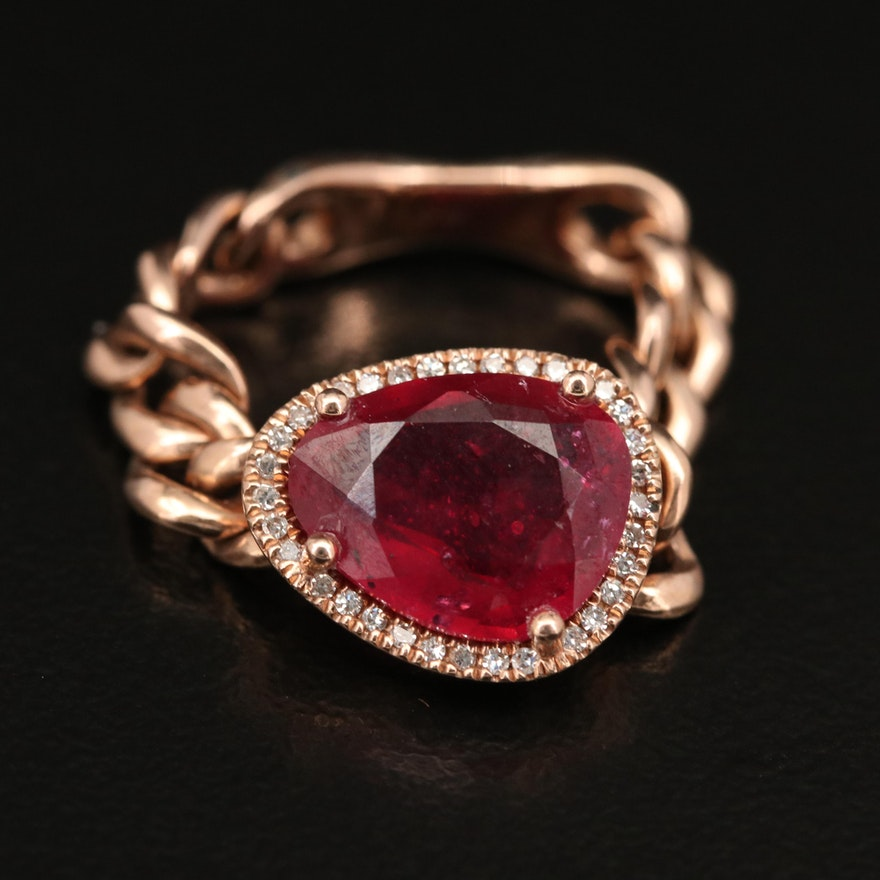 14K Corundum and Diamond Halo Curb Link Ring