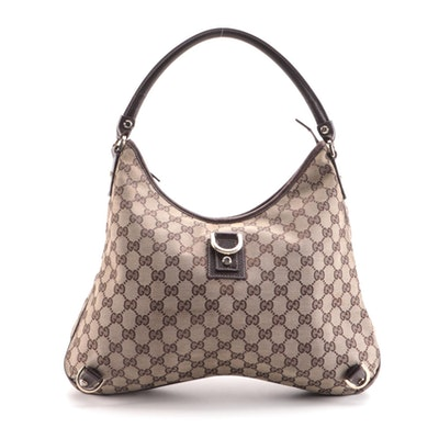 Gucci Abbey Hobo Bag in GG Canvas with Brown Leather Trim
