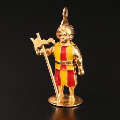 14K Enamel Vatican Guard Charm