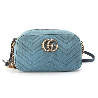 Gucci Double GG Marmont Embellished Camera Bag in Denim with Leather Trim