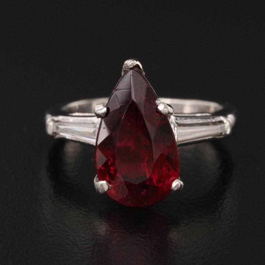 Platinum 2.87 CT Rubellite Tourmaline and Diamond Ring