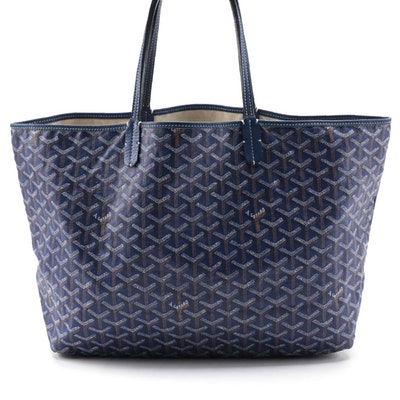 Goyard Saint Louis PM Tote in in Navy Blue Goyardine Coated Canvas