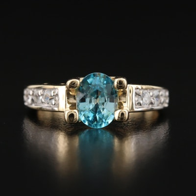 14K Blue and White Zircon Ring