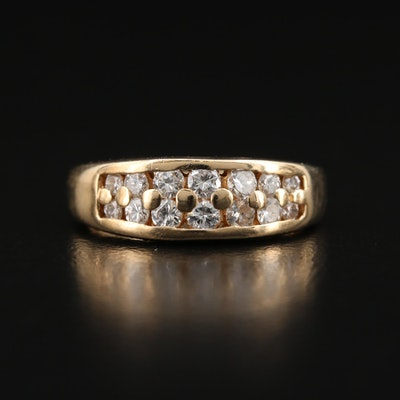14K Diamond Double Row Tapered Band