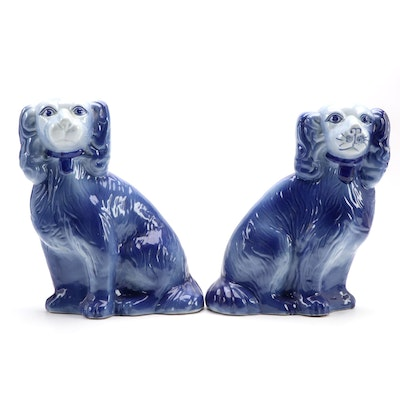 Staffordshire Style Pair of Ceramic Blue Spaniels, Late 20th Century