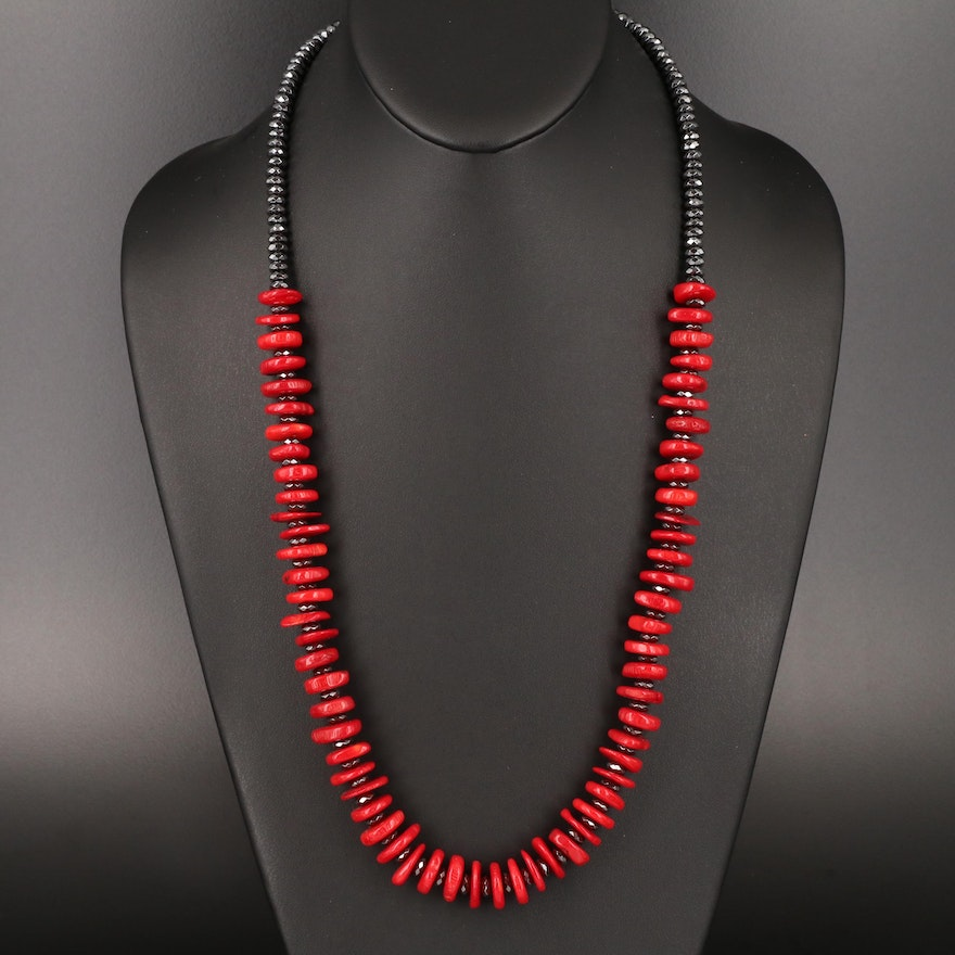 Coral and Hematite Bead Necklace