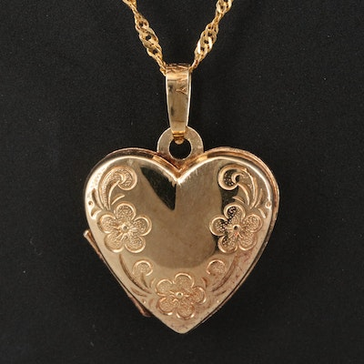 14K Heart Locket Necklace with Floral Engraving