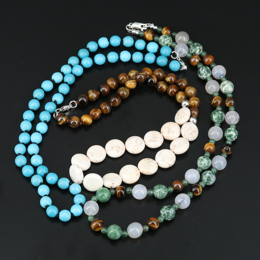 Tiger's Eye Quartz, Aventurine and Howlite Beaded Necklaces with Sterling Clasps